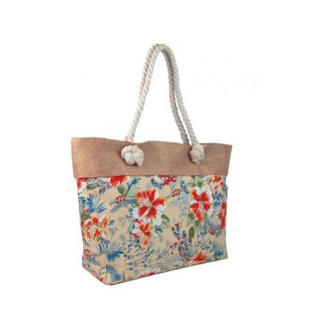 Cavaldi Letní lehká plážová taška růžová s kvítky SP-A Růžová
