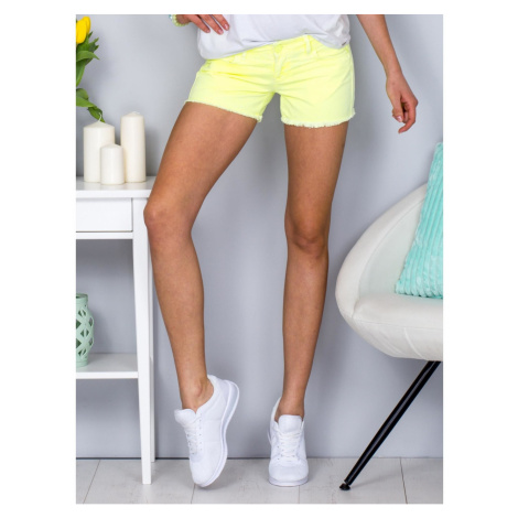 Fluo yellow frayed shorts Fashionhunters