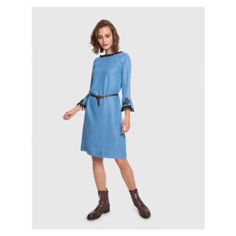 Šaty La Martina Woman Dress L/S Denim Tencel - Modrá