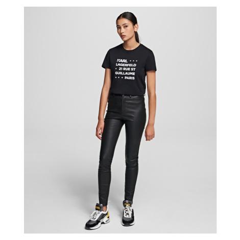 Kalhoty Karl Lagerfeld Leather Biker Pants - Černá