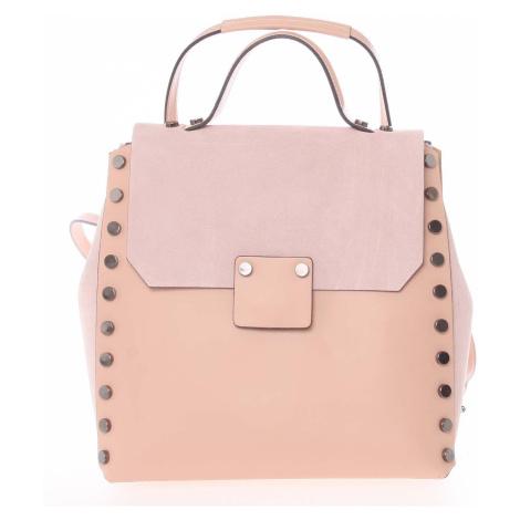 Unikátní růžový dámský kožený batoh/kabelka - ItalY Nicoletta
