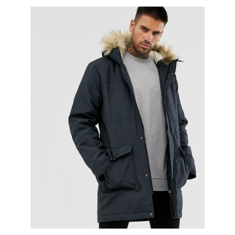 Only & Sons parka with borg lined hood and removable faux fur-Navy