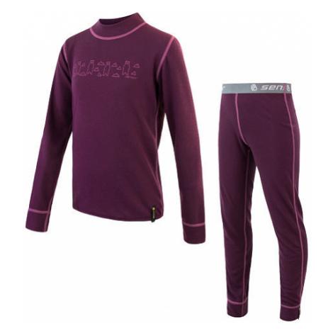 Sensor funkční prádlo DOUBLE FACE SET BEARS dětský triko dl.rukáv + spodky fialová