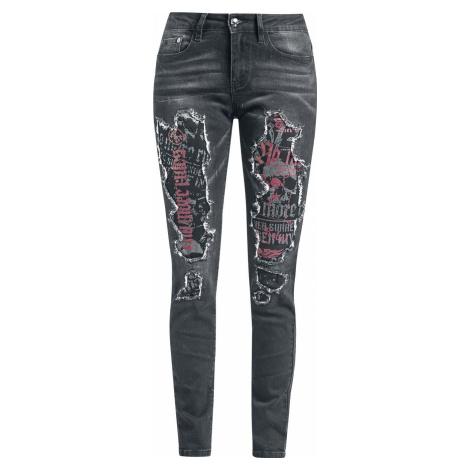 Rock Rebel by EMP Džíny s podšitými otvory Dámské kalhoty černá