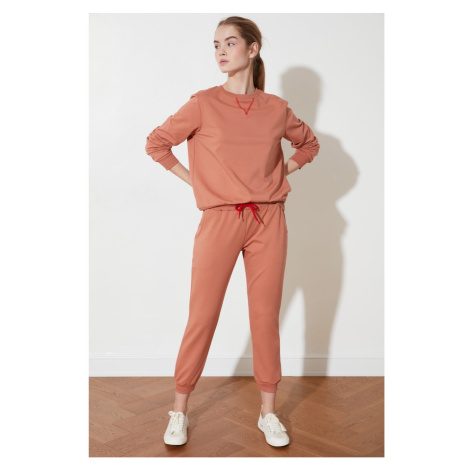 Trendyol Camel Karyoka Stitched Anthrax-Born Knitted Tracksuit Suit