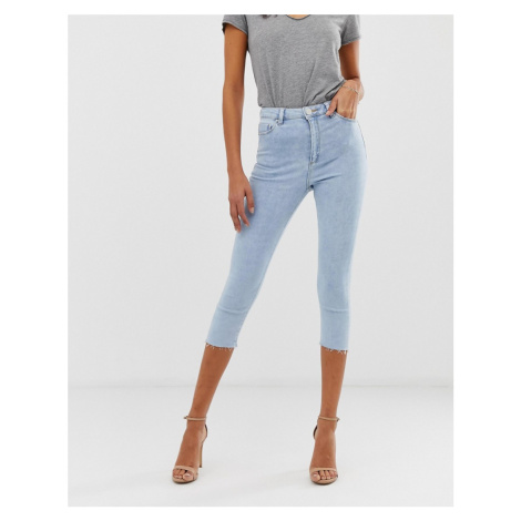 ASOS DESIGN Ridley high waisted cropped skinny jeans in light wash blue