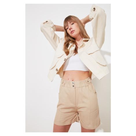 Trendyol Beige Front Button Shorts & bermuda