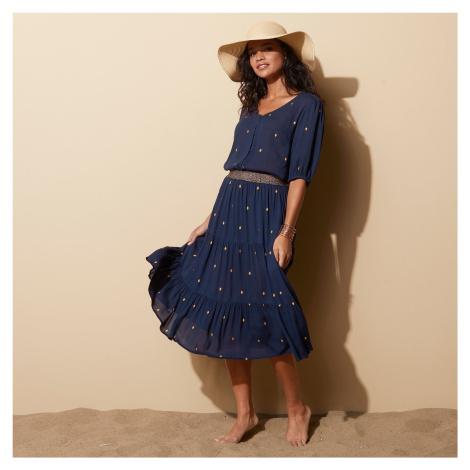 Blancheporte Krátká sukně se zlatým potiskem nám.modrá/zlatá