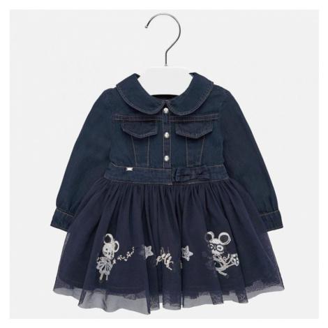 Riflové, dívčí šaty 2925 | modrá Mayoral