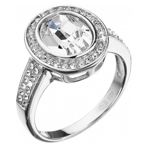 Stříbrný prsten s krystaly Swarovski bílý 35048.1 Victum
