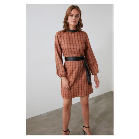 Trendyol Camel FD Leather Belt Dress