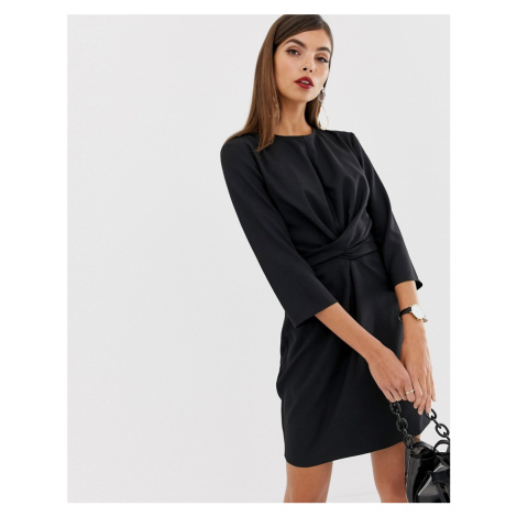 ASOS DESIGN tie wrap around mini dress-Black