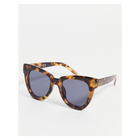 Topshop Tort Oversize Square Sunglasses with Blue Lense-Brown