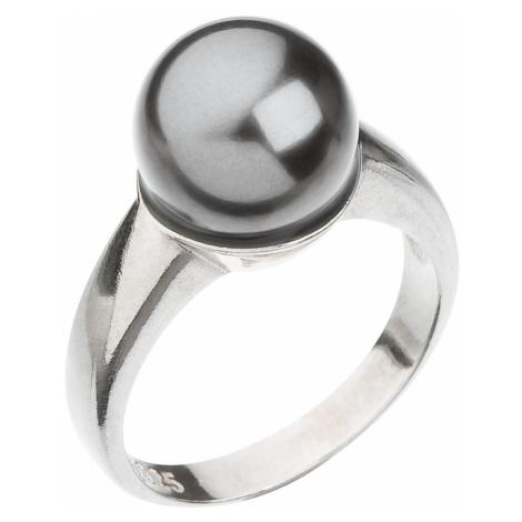 Stříbrný prsten se Swarovski perlou šedý 35022.3