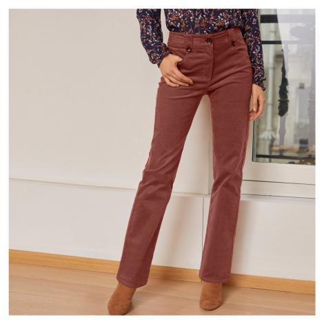 Manšestrové kalhoty s knoflíky hnědošedá