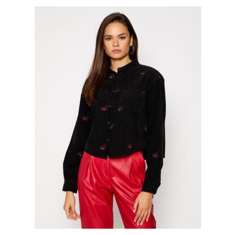 Tommy Hilfiger Tommy Jeans dámská černá manšestrová košile SIGNATURE LOGO CORDUROY SHIRT