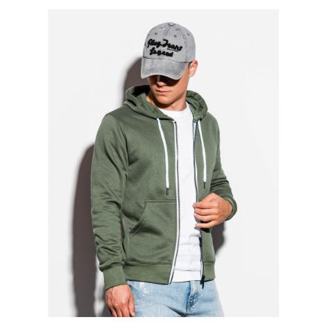 Ombre Clothing Trendy khaki mikina na zip B977