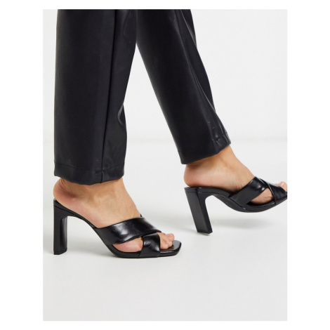 Bershka crossover padded heeled sandal in black