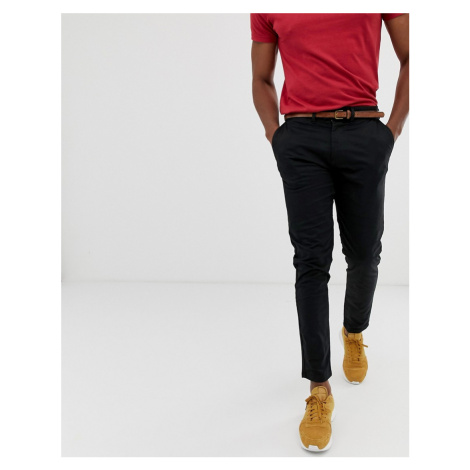 Pull&Bear skinny chino with belt in black Pull & Bear