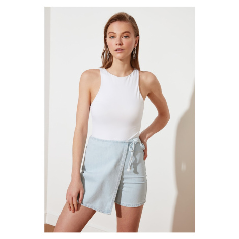Trendyol Blue Asymmetrically Closed Denim Shorts Skirt