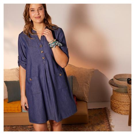 Blancheporte Krátké džínové šaty se 3/4 rukávy modrá