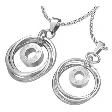 Přívěsek pro dvojici - propletené prstence se zirkony a nápisem