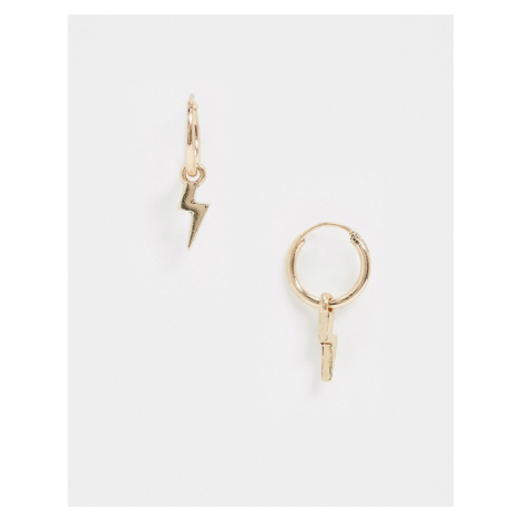 Classics 77 hoop earrings with lightning bolt charms in gold