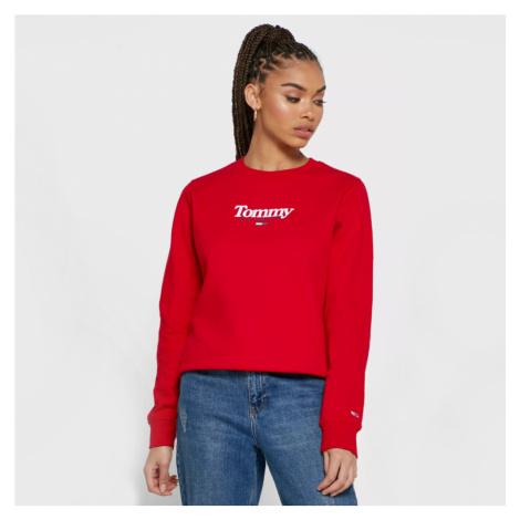 Tommy Jeans dámská červená mikina Essential Tommy Hilfiger