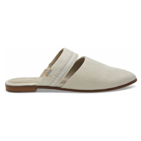 Off White Nubuck Embroidered Strap Jutti Mule Toms