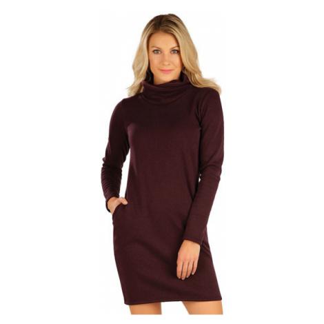 Dámské mikinové šaty s dlouhým rukávem Litex 7A065 | bordó