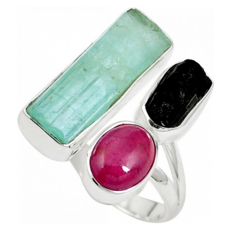 AutorskeSperky.com - Stříbrný prsten s akvamarínem a turmalíny -  S2602