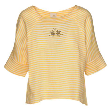 Košile La Martina Woman Striped Linen Blouse - Žlutá