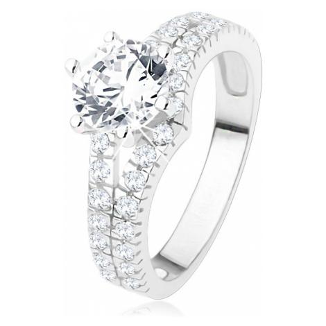Zásnubní prsten ze stříbra 925 - velký čirý kamínek, rozdvojená zirkonová ramena Šperky eshop