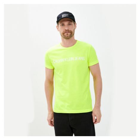 Calvin Klein pánské fosforově žluté tričko Logo
