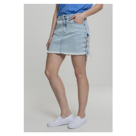 Ladies Denim Lace Up Skirt - blue bleached Urban Classics