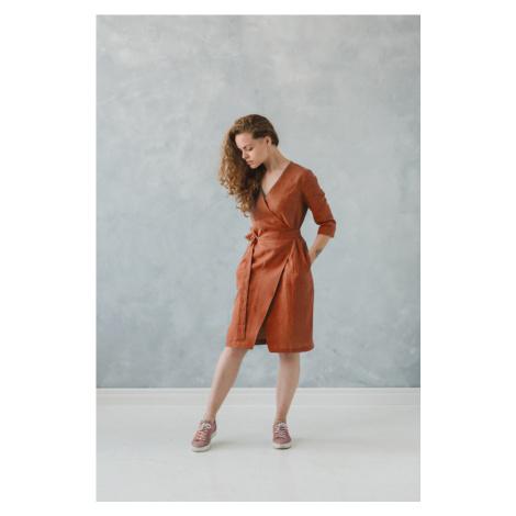 Lněné zavinovací šaty excellent quality