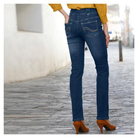 Blancheporte Rovné džíny s vysokým pasem, vysoká postava tmavě modrá