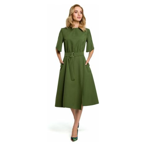 Stylové Šaty se širokou sukní, zvonové rukávy, v pase široký pásek