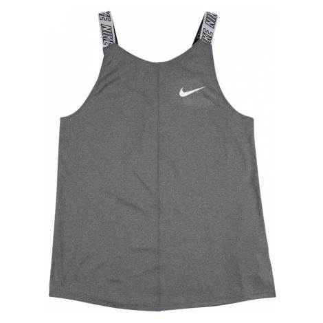 NIKE Sportovní top šedý melír / bílá / černá