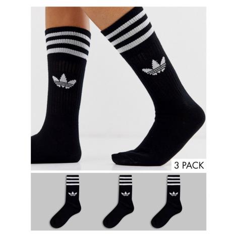 Adidas Originals 3 pack solid crew socks in black