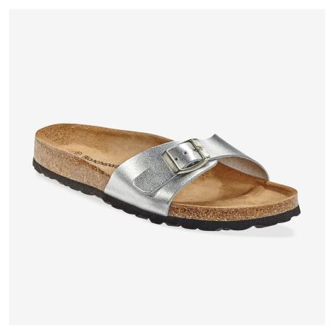 Blancheporte Kožené pantofle, stříbrné stříbrná