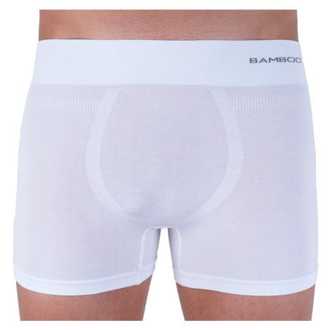 Pánské boxerky Gino bezešvé bambusové bílé (54005)