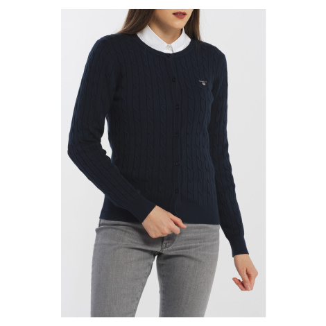 SVETR GANT STRETCH COTTON CABLE CREW CARDIGAN