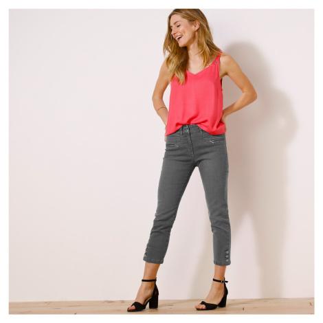 Blancheporte Džínové 3/4 kalhoty s knoflíky na koncích nohavic šedá