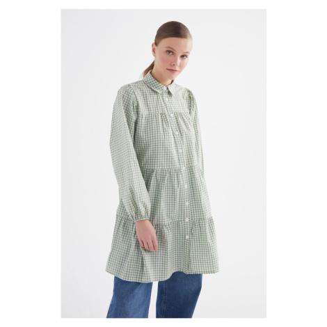 Trendyol Mint Plaid Hijab Tunic