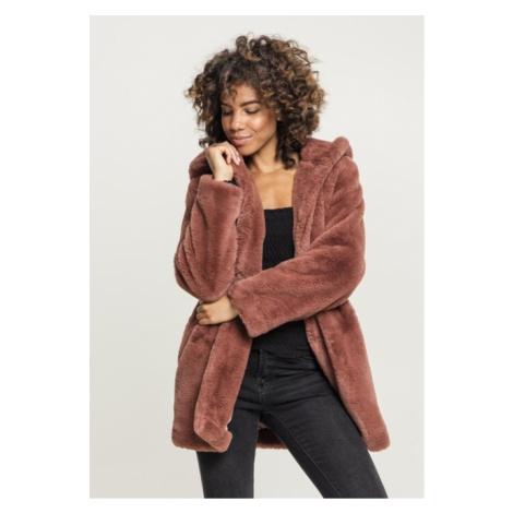 Urban Classics Ladies Hooded Teddy Coat darkrose