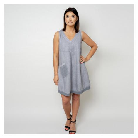 Krátké šedé šaty s kapsičkou 10798 Willsoor