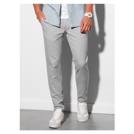 Ombre Clothing Světle-šedé elegantní kalhoty P156