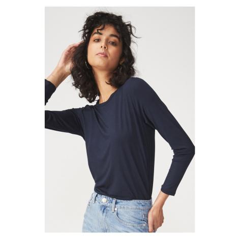 Dámské basic triko s dlouhým rukávem Kathleen modrá