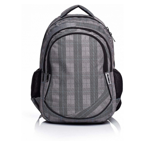 šedý školní batoh kostkovaný BASIC
